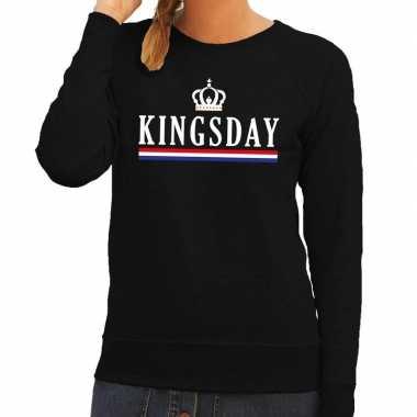 Zwart kingsday hollandse vlag trui dames