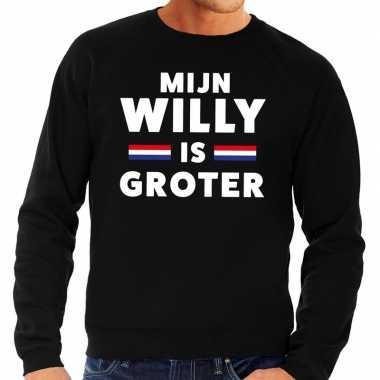 Zwart mijn willy is groter trui heren