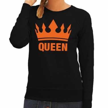 Zwart queen kroon trui dames