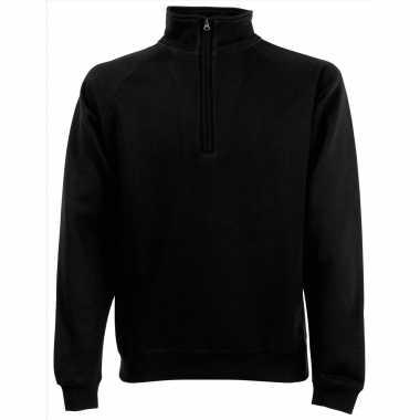 Zwarte fleece trui/trui rits kraag heren/volwassenen