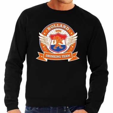 Zwarte holland drinking team trui heren