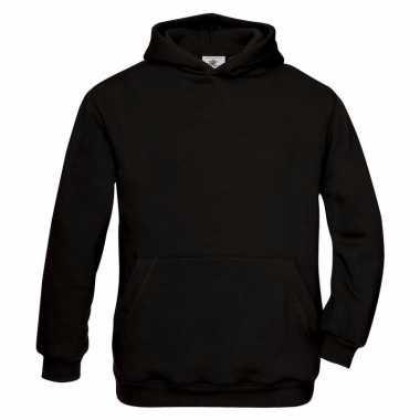 Zwarte katoenmix trui met capuchon voor meisjes