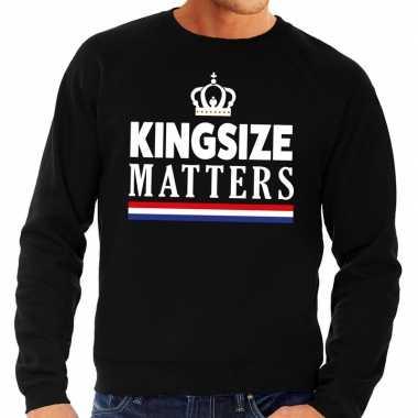 Zwarte kingsize matters trui heren