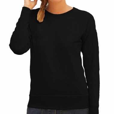 Zwarte trui / sweatshirt trui raglan mouwen ronde hals dames