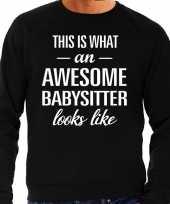 Awesome babysitter oppas cadeau trui zwart heren