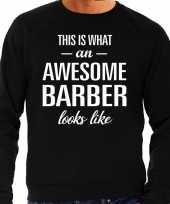 Awesome barber barbier cadeau trui zwart heren