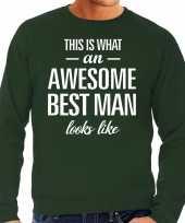 Awesome best man getuige cadeau trui groen heren