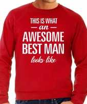 Awesome best man getuige cadeau trui rood heren