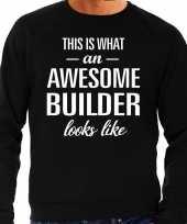 Awesome builder bouwvakker cadeau trui zwart heren