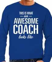 Awesome coach trainer cadeau trui blauw heren