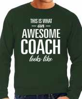 Awesome coach trainer cadeau trui groen heren