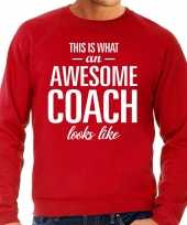 Awesome coach trainer cadeau trui rood heren