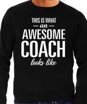 Awesome coach trainer cadeau trui zwart heren