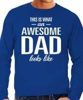 Awesome dad cadeau trui blauw heren vaderdag cadeau