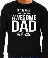 Awesome dad cadeau trui zwart heren vaderdag cadeau