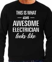 Awesome electrician elektricien cadeau trui zwart heren