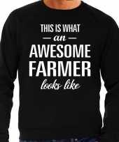 Awesome farmer boer cadeau trui zwart heren