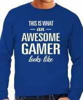 Awesome geweldige gamer cadeau trui blauw heren