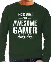 Awesome geweldige gamer cadeau trui groen heren