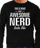 Awesome geweldige nerd cadeau trui zwart heren