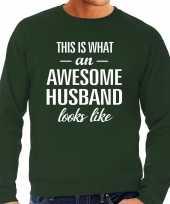 Awesome husband echtgenoot cadeau trui groen heren