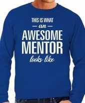 Awesome mentor leermeester cadeau trui blauw heren