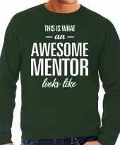 Awesome mentor leermeester cadeau trui groen heren