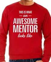 Awesome mentor leermeester cadeau trui rood heren
