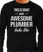 Awesome plumber loodgieter cadeau trui zwart heren