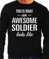 Awesome soldier soldaat cadeau trui zwart heren