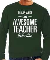 Awesome teacher leraar cadeau trui groen heren