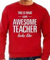 Awesome teacher leraar cadeau trui rood heren