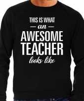Awesome teacher leraar cadeau trui zwart heren