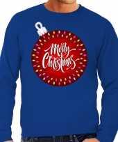 Foute kersttrui kerstbal merry christmas blauw heren