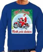 Foute kersttrui motorliefhebbers mc santa blauw heren