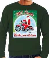 Foute kersttrui motorliefhebbers mc santa groen heren