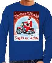 Foute kersttrui motorliefhebbers no presents blauw heren