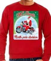 Foute kersttrui motorliefhebers mc santa rood heren