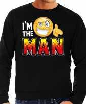 Funny emoticon trui i am the man zwart heren