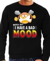 Funny emoticon trui i have a bad mood zwart heren