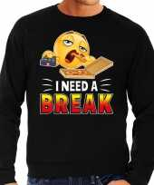 Funny emoticon trui i need a break zwart heren