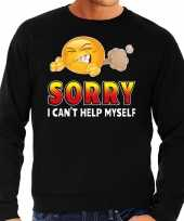Funny emoticon trui sorry i cant help myself zwart heren
