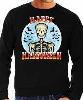 Happy halloween skelet verkleed trui zwart heren