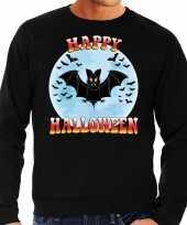 Happy halloween vleermuis verkleed trui zwart heren