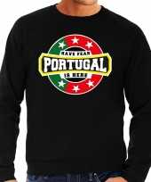 Have fear portugal is here portugal supporter trui zwart heren