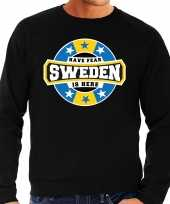 Have fear sweden is here zweden supporter trui zwart heren