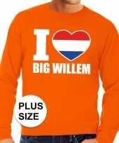 Oranje i love big willem grote maten trui trui heren