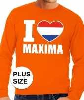 Oranje i love maxima grote maten trui trui heren