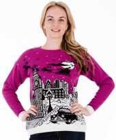 Paarse kersttrui london voor dames