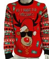 Rode heren kersttrui all i want is money lichtjes lampjes
